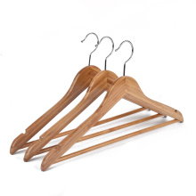 Assessed Supplier PENGFEI natural clothes bamboo hangers with bar for supermarket