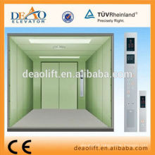 Opposite door freight elevator with machine room