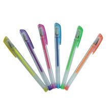 Stylo à encre gel 2014 Nouveau, stylo en plastique, surligneur stylo 6 couleurs