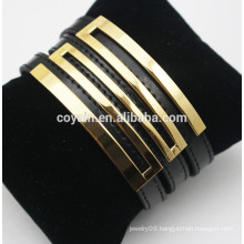 Genuine black belt buckle leather bangles with 18k gold plated metal