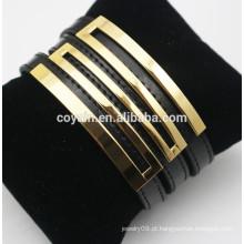 Pulseira de couro genuíno fivela pulseiras com metal banhado a ouro 18k