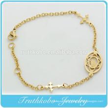 TKB-B0063 IP Gold baptism gift for godparent catholic jewelry sideways cross bracelet