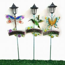 Garden Decoration Stained Glass Decorated Metal Stake Craft with Solar Light