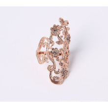 Rose Color Gold Plated Fashion Jewelry Ring with Flower Design