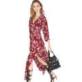 2016 летняя мода шифон цветок печати женщин платье