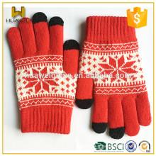 Gants de vélo d'hiver de filles Gants tactiles en tricot rouge avec 100% acrylique