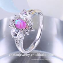 Anillo de nudillo de lujo anillos de bronce joyería pistón anillo de ópalo sintético compromiso indio