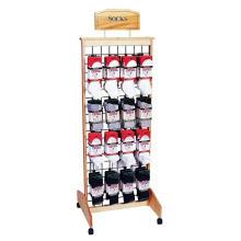 Daily Wear Goods Merchandising Custom 4-Caster Floor Slatwall Wood Socks Footwear Display Racks