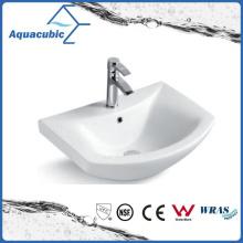 Lavatório de lavagem de mãos de lavatório de cerâmica com banheiro semi-embutido (ACB8160)