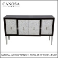 CANOSA ECO-friendly Seashell Inlaid Storage Cabinet with Wood Pedestal