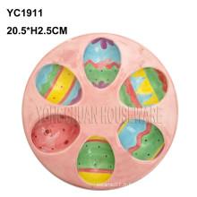Plaque d'oeufs colorés en céramique