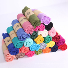 Factory price wholesale cheap solid color cotton feeling scarf women polyester scarf