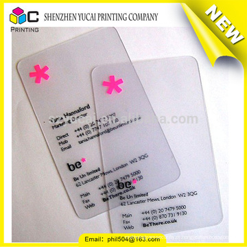 Cartão de visita plástica de impressão plástica transparente de design elegante