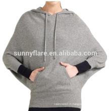 Chandail en cachemire de mode tricoté de haute qualité de mode de femmes de chauve-souris
