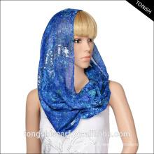 O lenço infinito do laço das mulheres do Best-seller que imprime o lenço do pescoço do voile com projeto de lantejoulas
