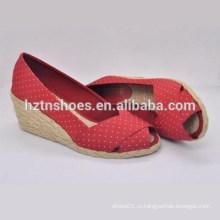 2015 новых весной обувь точка ткани на высоких каблуках клина случайные и удобные одной рыбы рот ботинки джокер Espadrilles