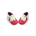 2018 hot red christmas baby mocasines al por mayor
