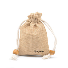 Wholesale Small eco friendly Gift Bag reusable jute Jewelry Pouch printed logo rope jewelry storage bag