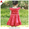 Wholesale Christmas flutter sleeve red dress