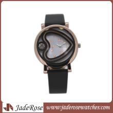 Reloj de la aleación del reloj de las mujeres del reloj de la moda 2016 con la venda de cuero