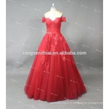 ED Bridal Off Shoulder Tulle Rouge avec Applique À La Dente Lace Up Alibaba Prom Dress