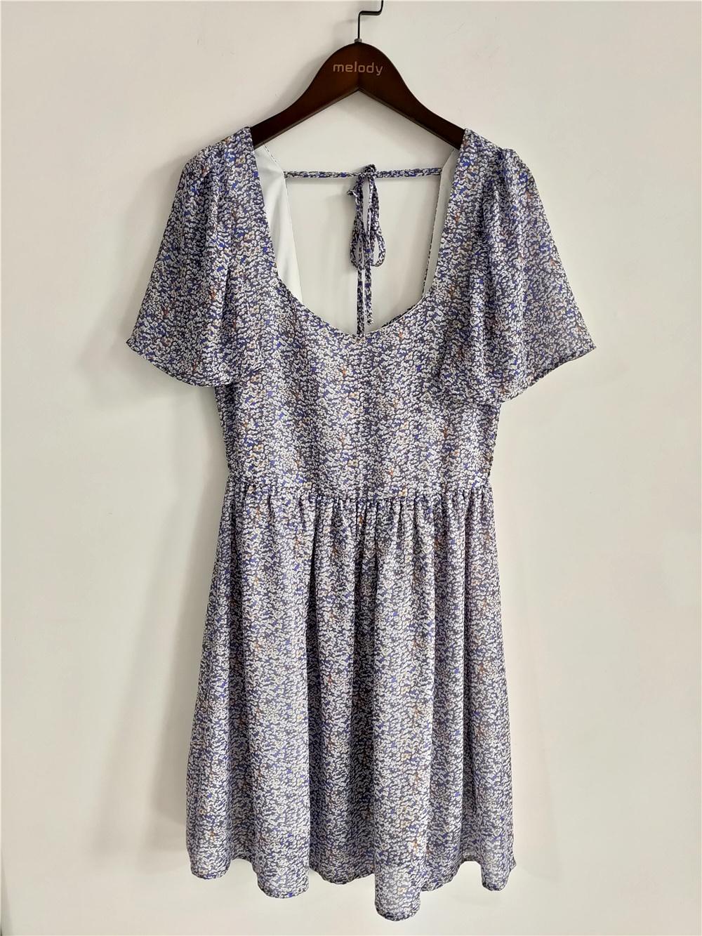 Ladies Sweet Floral Dress With Short Sleeves