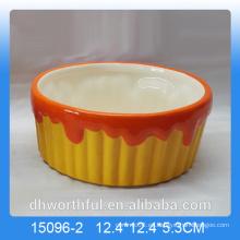 Colorido cuenco de frutas de cerámica para la decoración del hogar