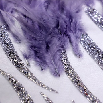 Ungu Glitter Feather Lace Tulle Mesh Fabric