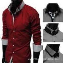 100% Cotton Stand Collar Short Sleeve Men′s Dress Shirt