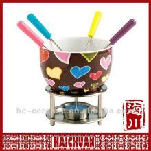 Calentador de fondue de chocolate de cerámica, set de fondue de chocolate