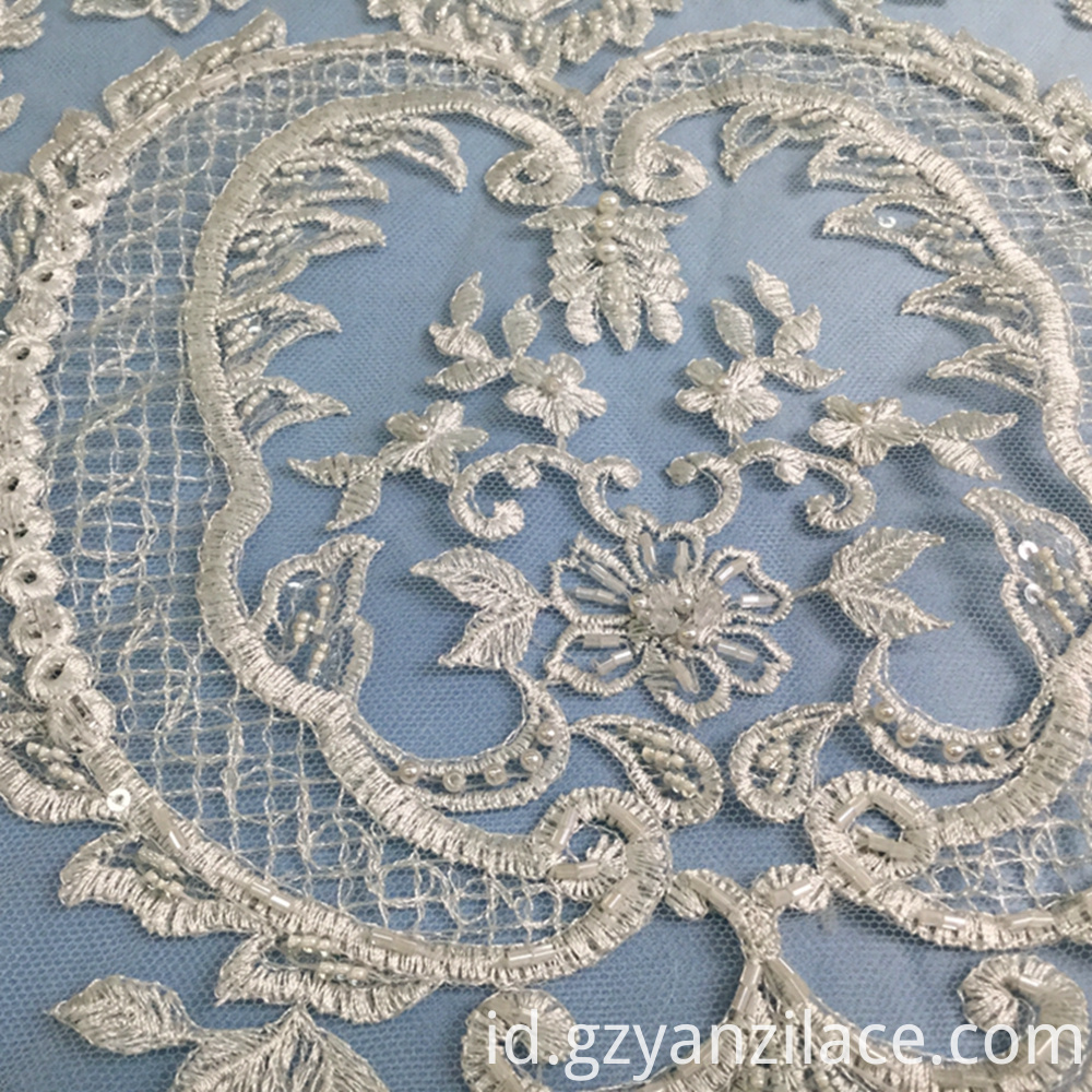 Ivory Embroidery Handwork Beaded Geometric Fabric