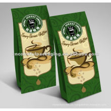 Bolsas de café de las bolsas de café de la hoja de aluminio / parte inferior plana / escudete lateral
