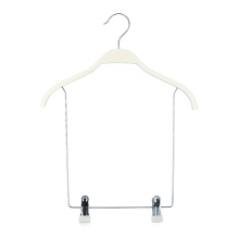 Custom Logo white wooden swim suits hanger with long clips drops