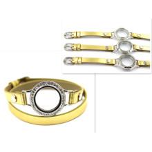 30mm Silver Diamant Round Watch Locket Gold Leather Bracelet
