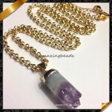 Neue Art-Amethyst-Punkt-hängende Halskette, Art und Weise wulstige Schmucksache-Halskette (FN070)