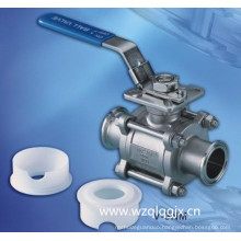 Sanitary Stainless Steel 3PC Clamped Ball Valve