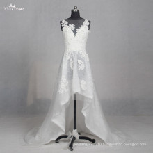 LZ155 Alibaba Special High Low Sleeveless Applique Wedding Dress Lace Beading Wedding Dresses