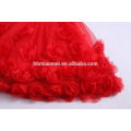 Kids Clothes Red Flowers With Sash Lace Appliqued Chiffon 3 Layers Sleeveless Baby Girl Party Dress