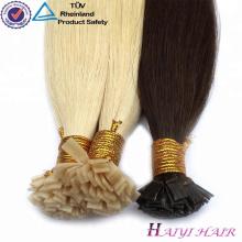 Cabello prebondado doble cabello humano U extremidad / punta plana / punta Extensiones de cabello al por mayor italiano punta plana pelo queratina
