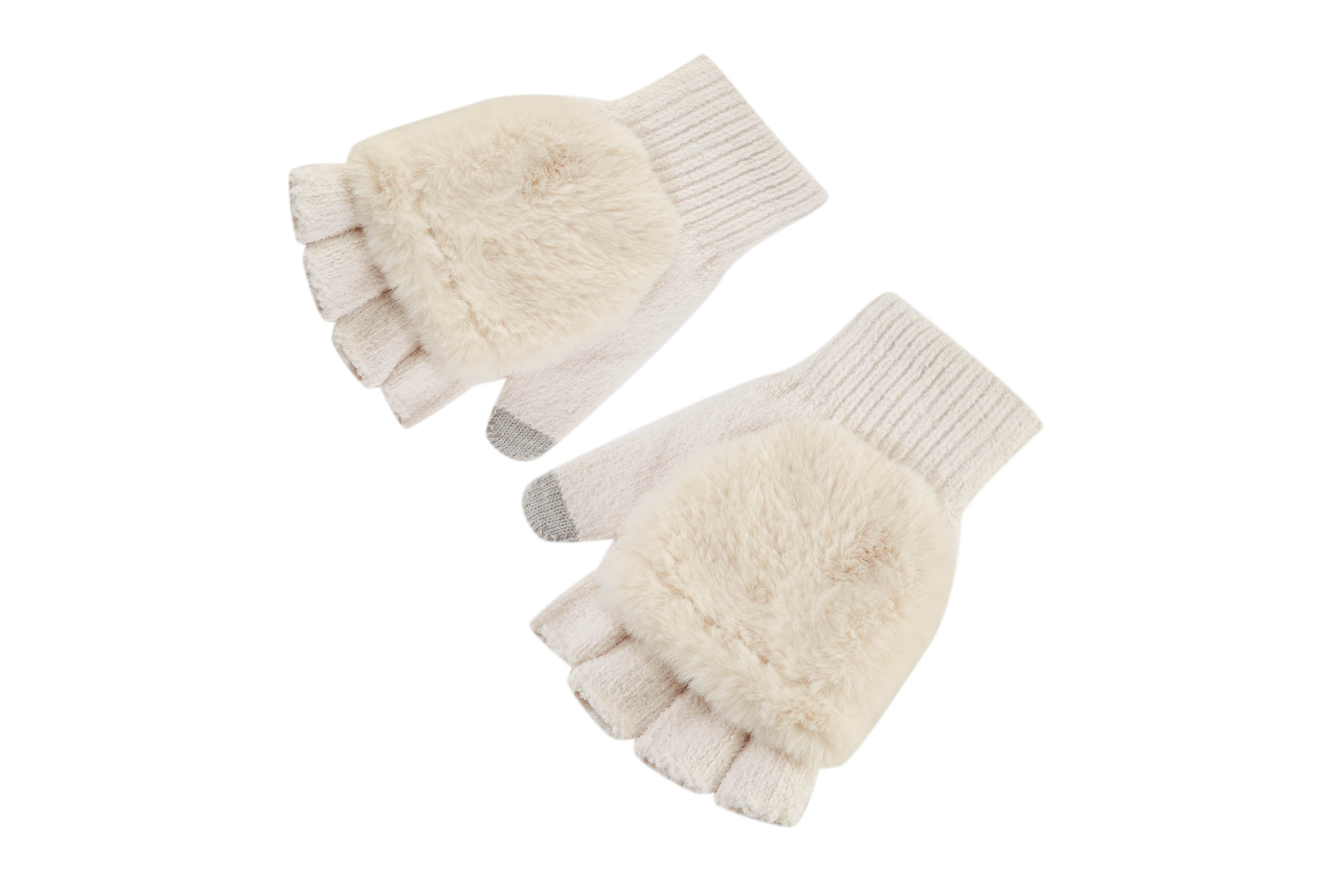 Girls' Winter Convertible Fingerless Gloves Warm Knit Gloves with Mitten Cover