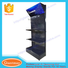 black color metal flooring display stand pegboard with hooks
