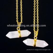 Chaîne en or à la mode Collier pendentif en pierre naturelle Collier bijoux en gemme en gros