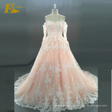 ED Bridal Elegant Boat Neckline Long Sleeve Lace-Up Back Alibaba Wedding Dress Bridal Gown
