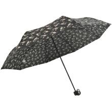3 fold flower pattern manual open cheap cost black pongee umbrella