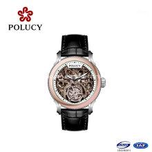 Top Quality Mechanical Black Skeleton Watch Leather Strap Tourbillon Watch