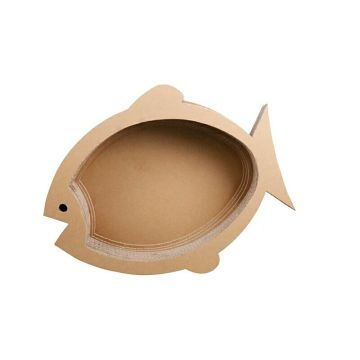 Forme de poisson Scratcher de chat en carton