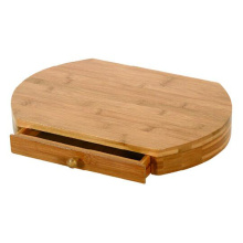 Food safe bamboo bread cutting board with drawer