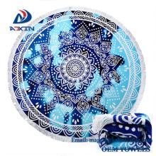 Factory Promotion150 * 150cm 50 Arten 100% Baumwolle gedruckt Runde Badetuch mit Quaste