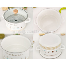 Metal enamel steamer with full decals and ceramic & wooden knobs