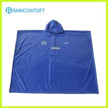 Poncho à pluie réfléchissante en PVC polyester bleu Rbc-028